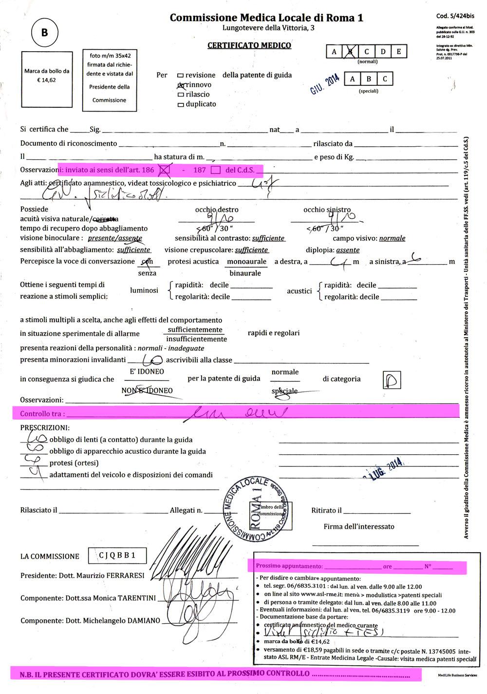 certificato commissione medica locale roma 1 2014
